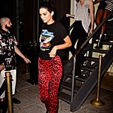 Kendall Jenner Red Animal Print Pants New York Fashion Week