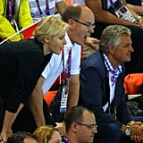 Prince Albert and Princess Charlene got into the swim meet at the Olympics.