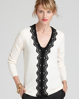 Isn't this sweater sweet? We'd toughen it up with jeans and a rocker tee. C by Bloomingdale's Cashmere Lace Applique Cardigan ($198)