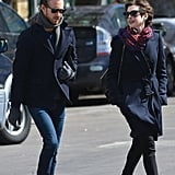 Anne Hathaway and Adam Shulman crossed a street in NYC.