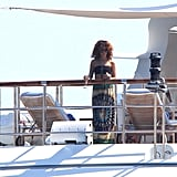 Rihanna hung out solo on deck.