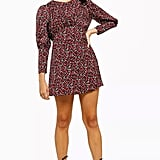 Topshop Printed Long Sleeve Mini Dress