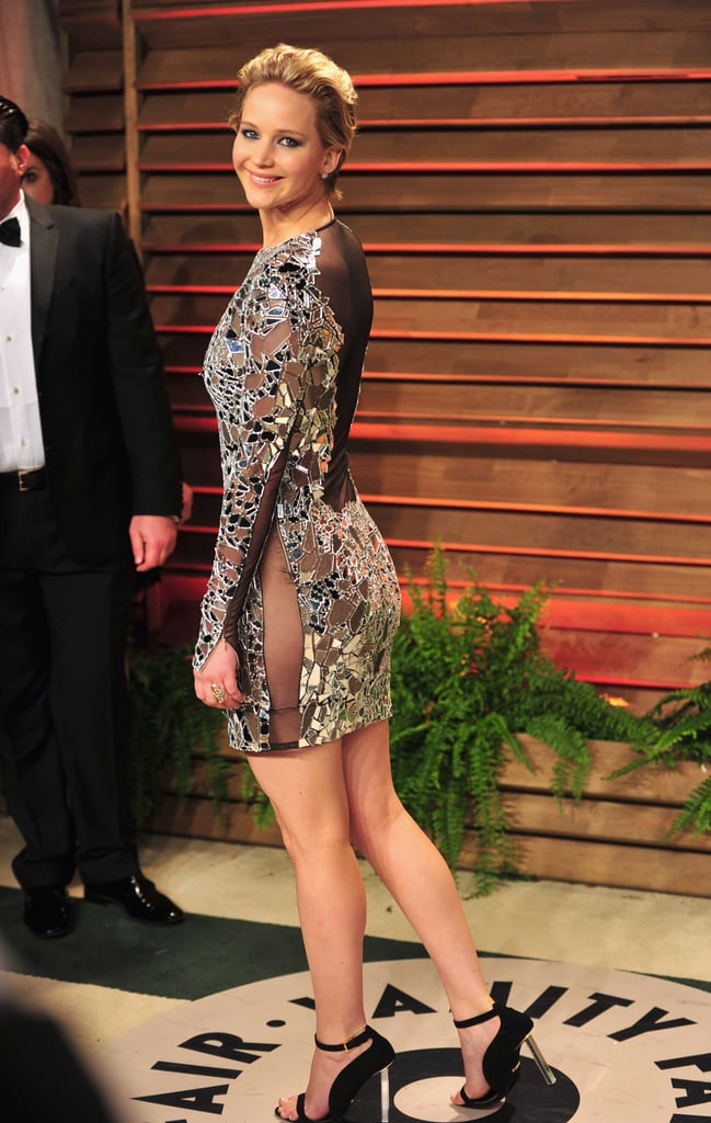 Jennifer Lawrence went commando in a sparkly mini at the Vanity Fair afterparty.