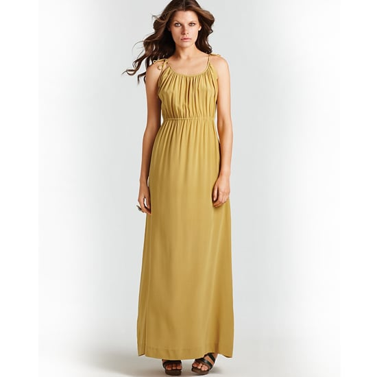 """>> Accentuate the warm hue with caramel-toned leather and golden earrings. Theory Tylie Maxi Dress with Ties , $375 Looks chic with: <iframe src=""""http://widget.shopstyle.com/widget?pid=uid5121-1693761-41&look=3353056&width=3&height=3&layouttype=0&border=0&footer=0"""" frameborder=""""0"""" height=""""244"""" scrolling=""""no"""" width=""""286""""></iframe>"""