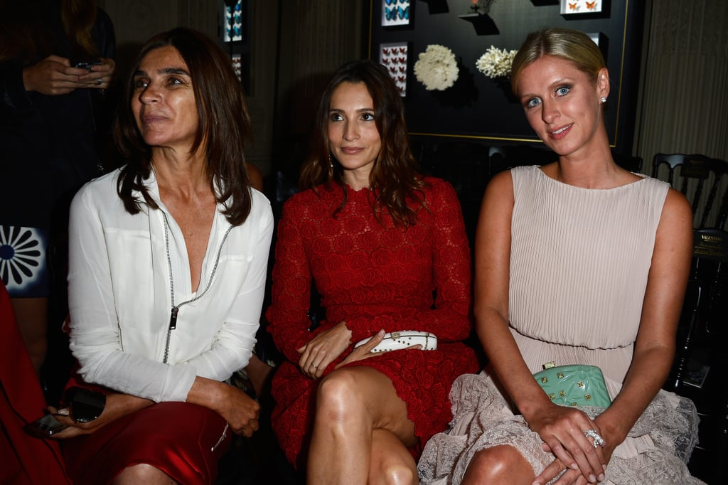 Carine Roitfeld, Astrid Munoz and Nicky Hilton sat together front row at the Valentino show.