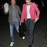 Gwen Stefani paired polka dots and pink for a Friday night date with friends.