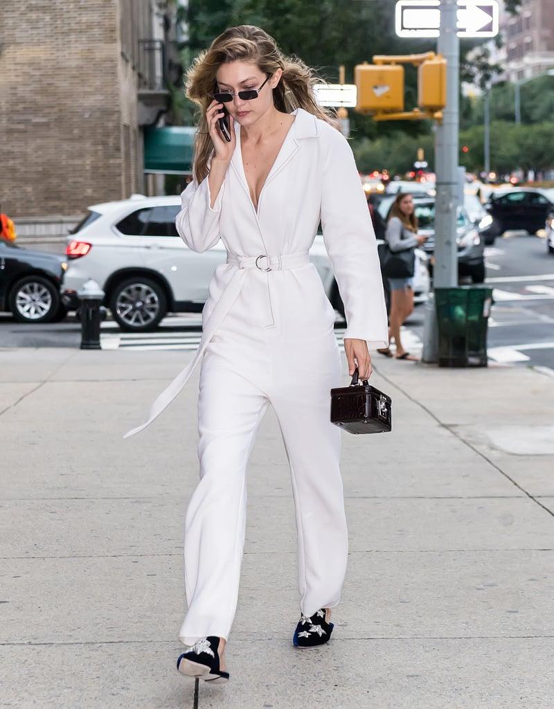 Gigi Also Wore a White Tamuna Ingorokva Jumpsuit With a Stalvey Bag