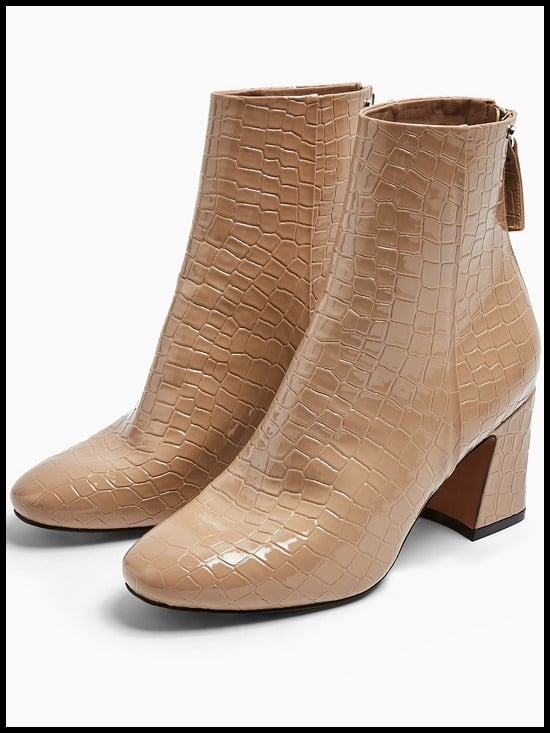 Topshop Belize Patent Zip-Back Ankle Boots