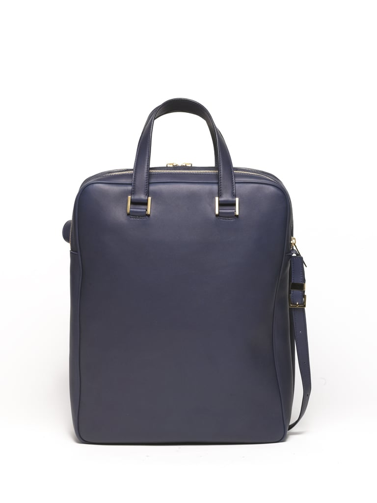 Twin Lambskin Double Zip Laptop Bag in Navy