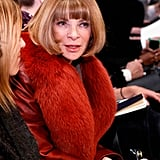 Anna Wintour looked perfectly polished in a rustic fur coat and sleek bob at the Tory Burch show.