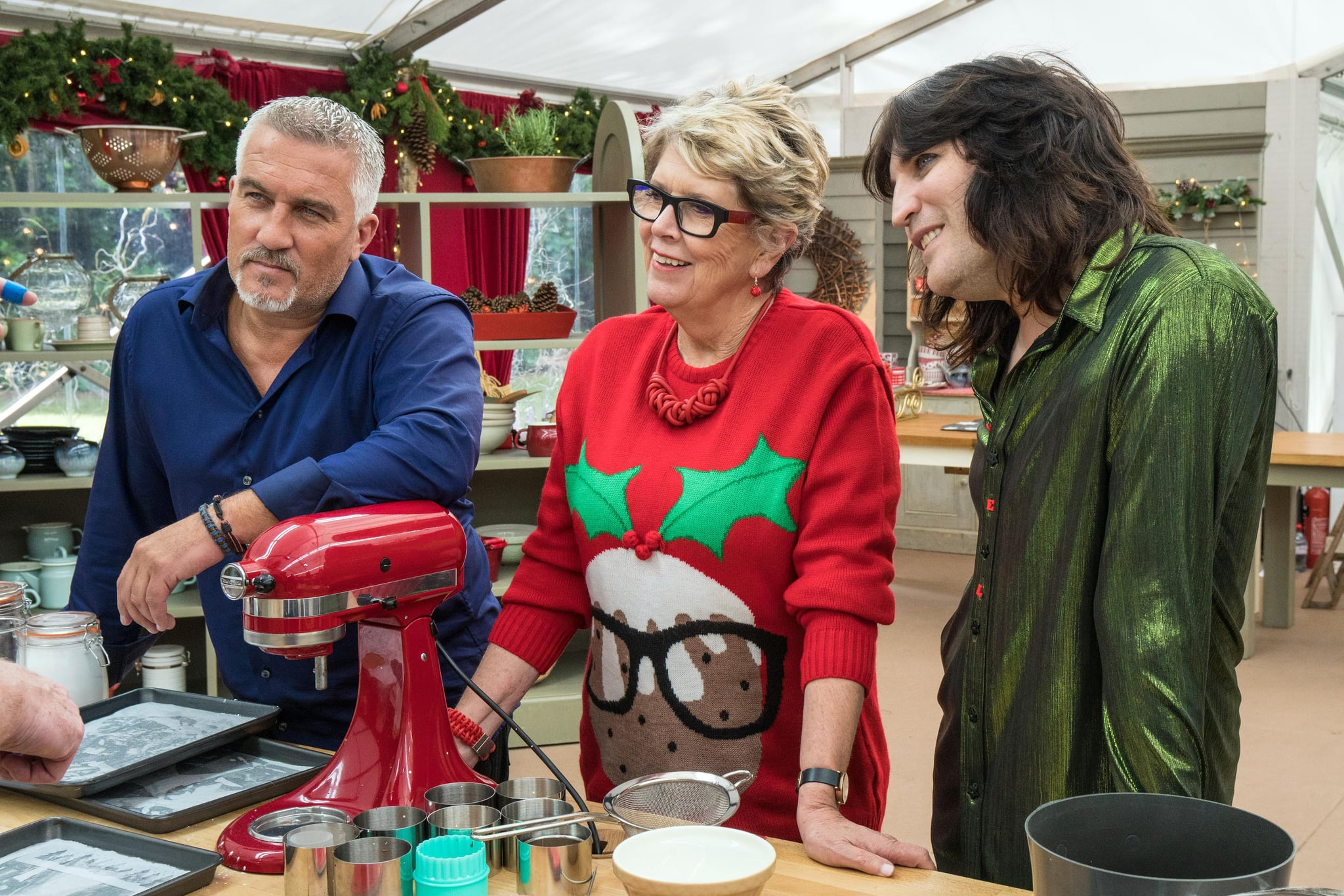 THE GREAT CHRISTMAS BAKE OFF, Judge Paul Hollywood, presenters Prue Leith, Noel Fielding, aired December 25-26, 2017, ph: Mark Bourdillon / Charlotte Medl / Channel 4 / courtesy Everett Collection