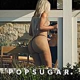Kim Kardashian's Thong Bikini Is Staying on Her Body by the Narrowest of Margins