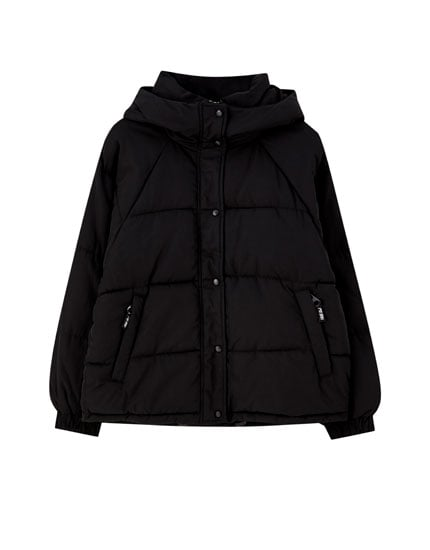 pull&bear High Neck Puffer Jacket With a Hood