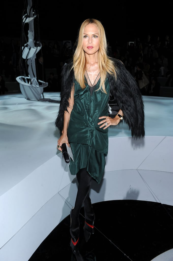 Rachel Zoe topped her forest-green confection with a black fur.