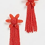 Madewell Beaded Tassel Flower Earrings