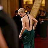 Rachel McAdams Checking the Back of Her Dress
