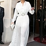 Looking like a vision in white, Selena wore a matching set from Elie Saab and gold Charlotte Olympia sandals.
