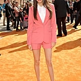Victoria Justice rocked a bold pink short suit with slick booties and even slicker straight hair at last year's Kids' Choice Awards.