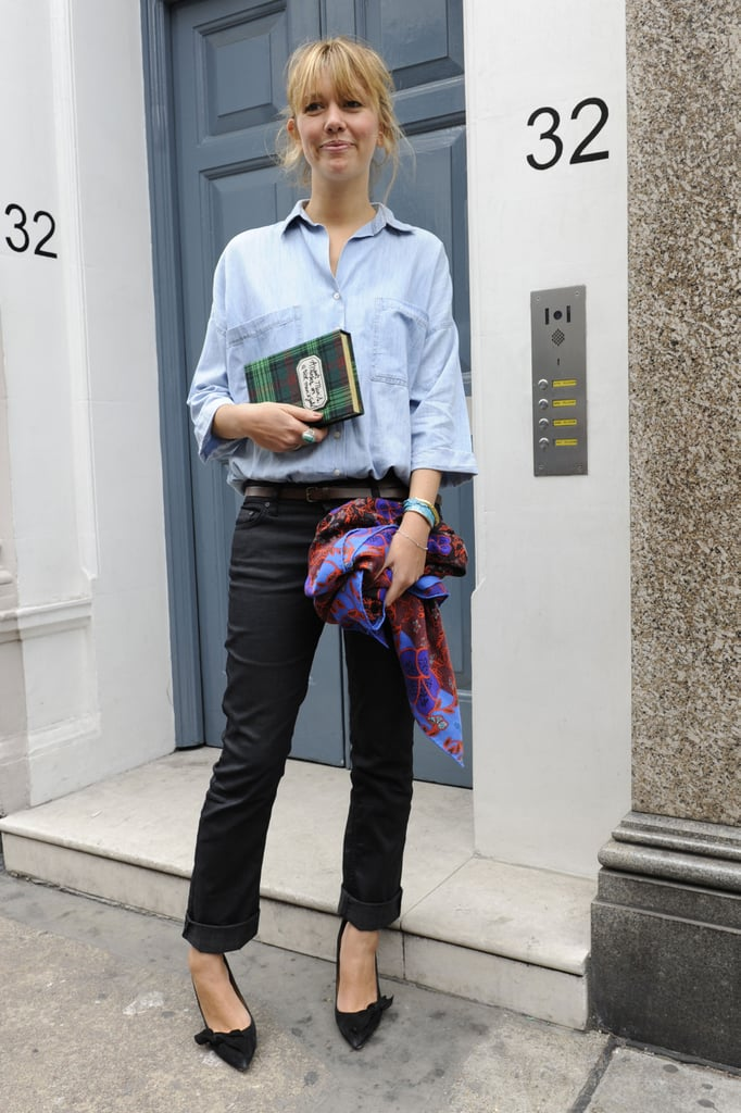 Her book-inspired clutch provided the statement piece in this low-key look.