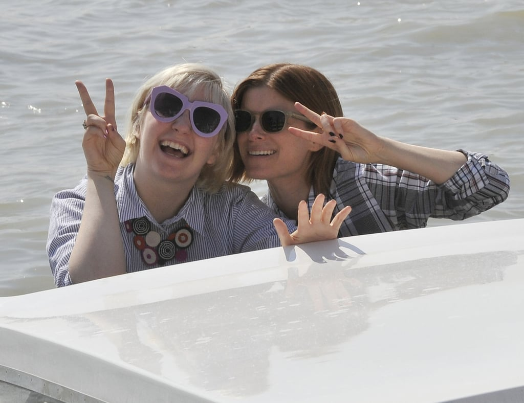 Lena Dunham and Kate Mara goofed around at the Venice Film Festival on Thursday.