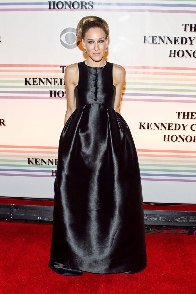 Sarah Jessica Parker made a chic arrival in a black Theyskens's Theory gown at the 34th Kennedy Center Honors event in Washington, DC.