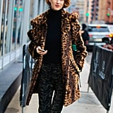 Style Your Leopard-Print Coat With: A Black Turtleneck and Pants
