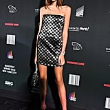 Kaia's Alexander Wang Afterparty Outfit Was This Sequin-Checked Sleeveless Number
