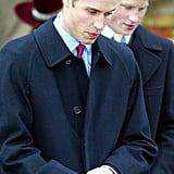 Prince William and Prince Harry linked up after the Christmas Day service in 2002.