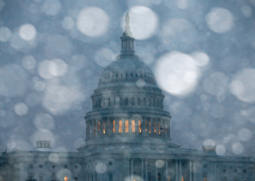 The US Capitol building was hit with heavy snowfall.