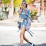 Dress Up Your Denim Cutoffs With a Printed Blouse