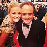 Malin Akerman leaned in for a picture alongside Bradley Whitford. Source: Instagram user sagawards