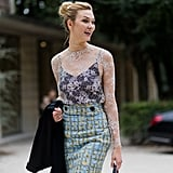 Karlie Kloss's Paris Fashion Week street style ensemble was full of surprises.
