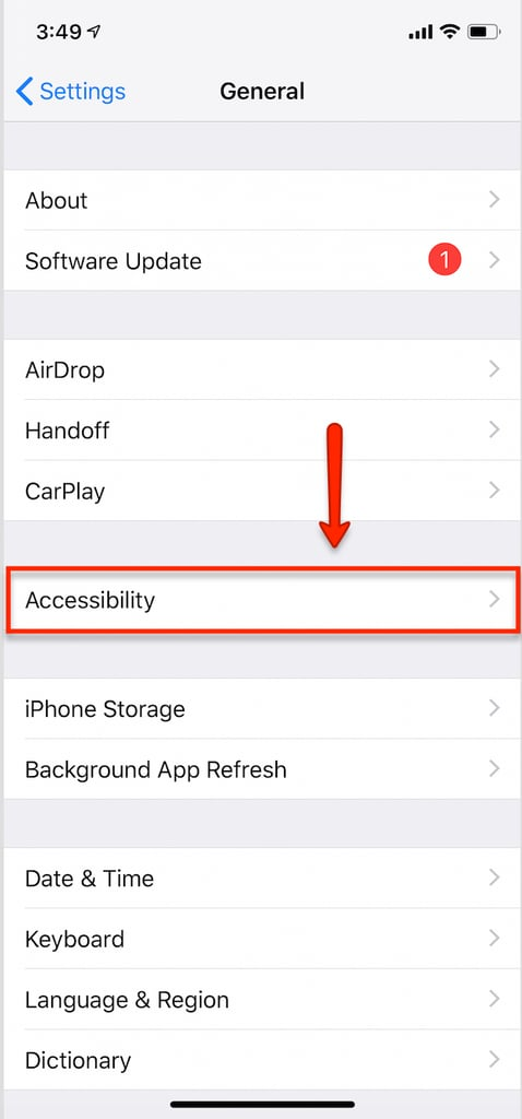 Find the Accessibility Tab