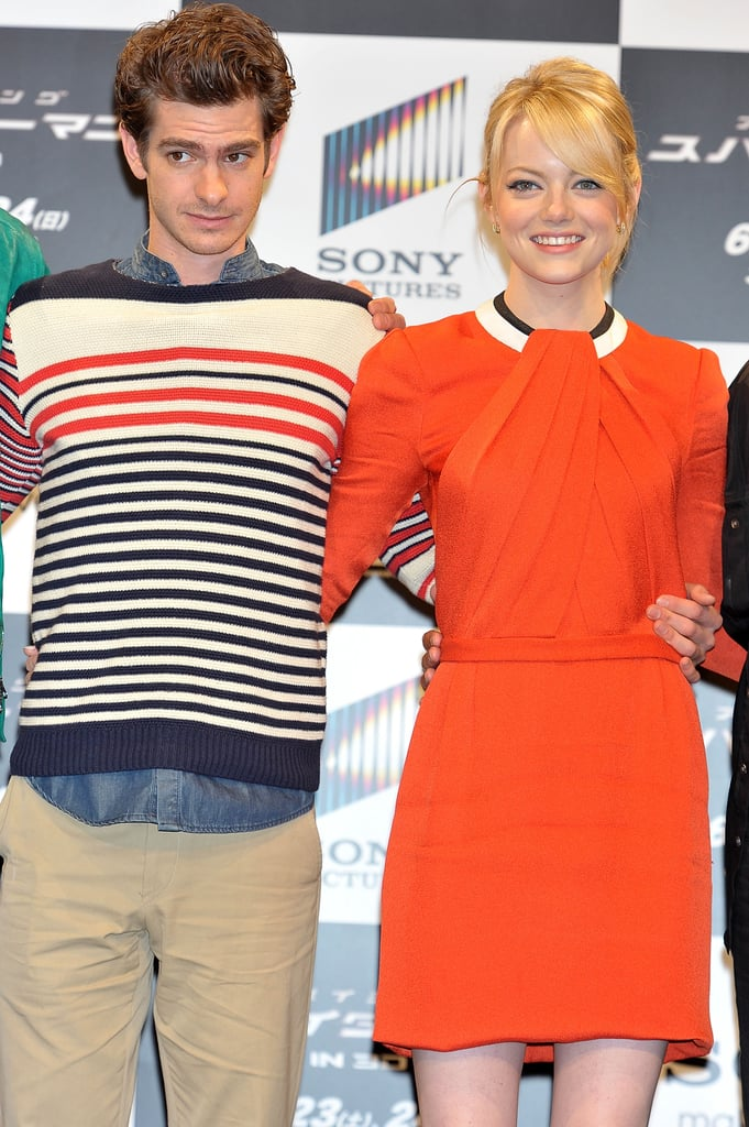 Emma Stone and Andrew Garfield linked up for the press conference for The Amazing Spider-Man in Japan.