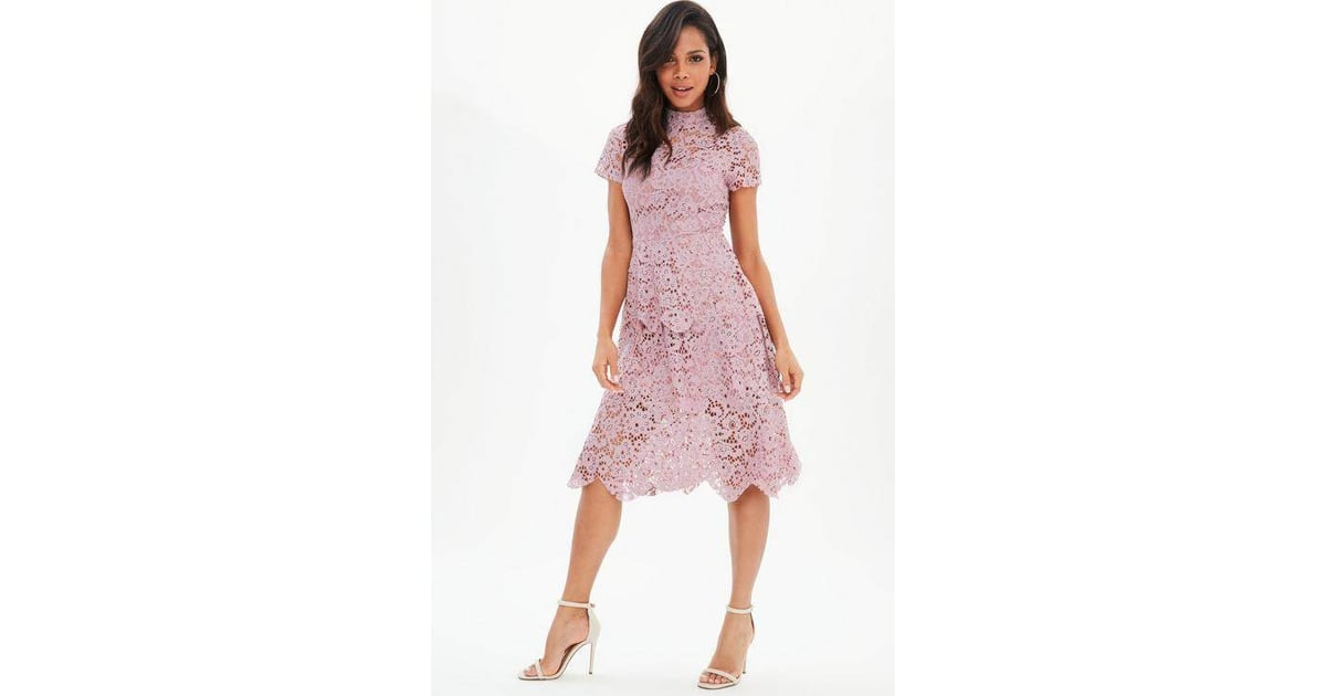 b180c5519e8d Missguided Lace High Neck Midi Dress