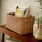 Living Room: West Elm Braided Console Basket