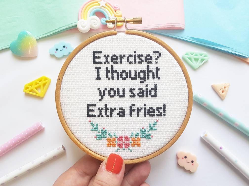 Extra Fries Cross Stitch Hoop