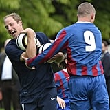 Prince William changed into casual clothes and trained with players.