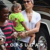 Jennifer Lopez wore a scarf while Emme Anthony sported a ponytail.