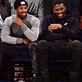 Michael B. Jordan sat courtside with a pal at the New York Knicks vs. Washington Wizards basketball game in NYC on Christmas Day.