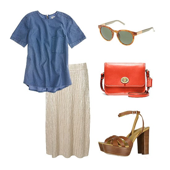 For brunching, lunching, running errands — or even in a casual office environment — we love giving our metallic skirt a dressed-down spin with denim. Top it off with a chambray t-shirt (even a button-down!) and add a pair of neutral platforms for an easy Spring and Summer style. Get the look:  Topshop Metallic Pleat Calf Skirt ($56) Madewell Denim Tee in Chicory Wash ($65) The Row Leather-Wrapped Round Frame Sunglasses ($445) Coach Classics Leather Mini Crossbody ($118) See by Chloé Wooden-Heeled Leather Sandals ($330)