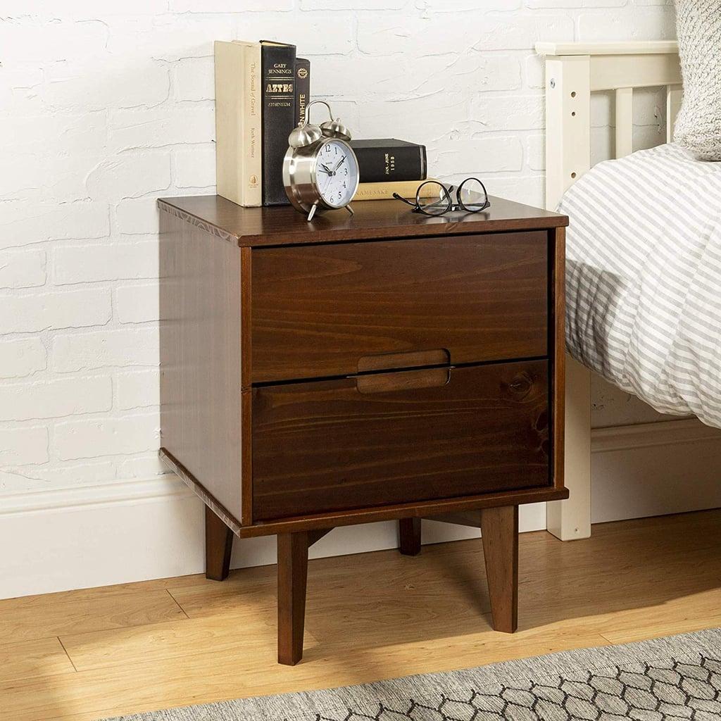 Walker Edison Mid Century Modern Grooved Handle Wood Nightstand