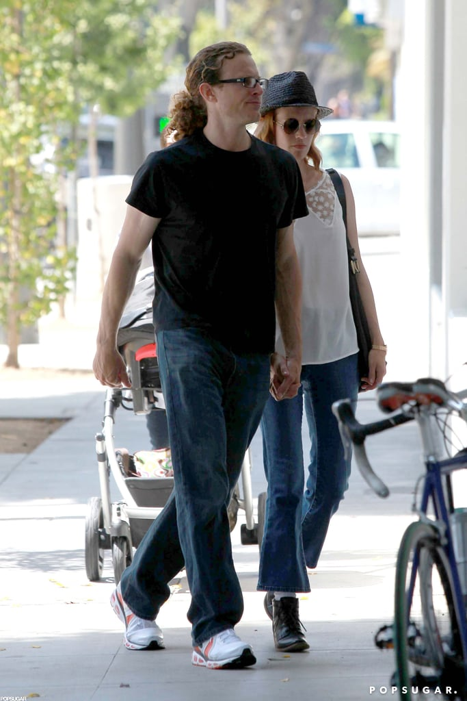 January Jones and a new man went for a walk with Xander.