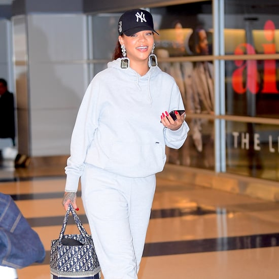 Rihanna Wearing Heels With Sweatpants at Airport
