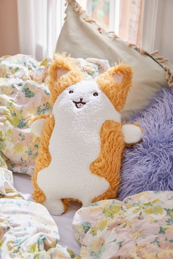 Fuzzy Corgi Throw Pillow