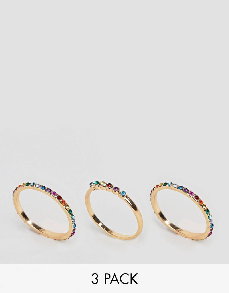 ASOS DESIGN Curve Exclusive pack of 3 rings with MULTICOLOR jewels in gold