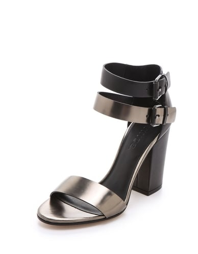 For a more subdued take on the trend, these Vince Lana metallic sandals ($375) have a more understated gunmetal finish and a go-with-everything silhouette.