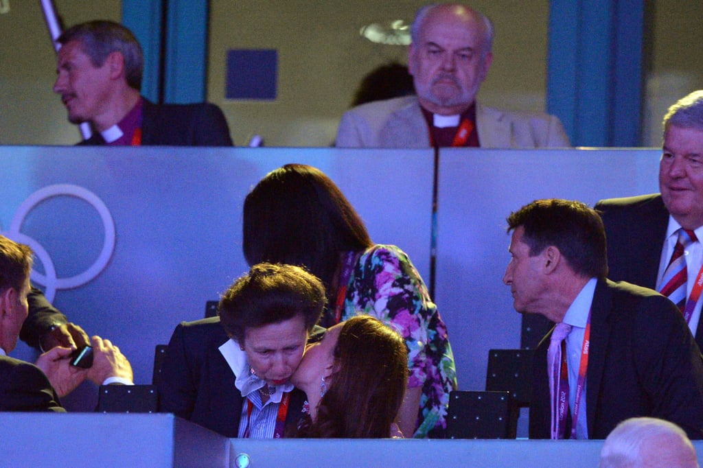 Kate gave her husband's aunt Princess Anne a kiss.