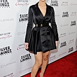 At the LA premiere of Silver Linings Playbook, Jennifer Lawrence showed us that yes, she can pull off a dress that looks like a coat — especially if it's accessorised with a metallic belt.