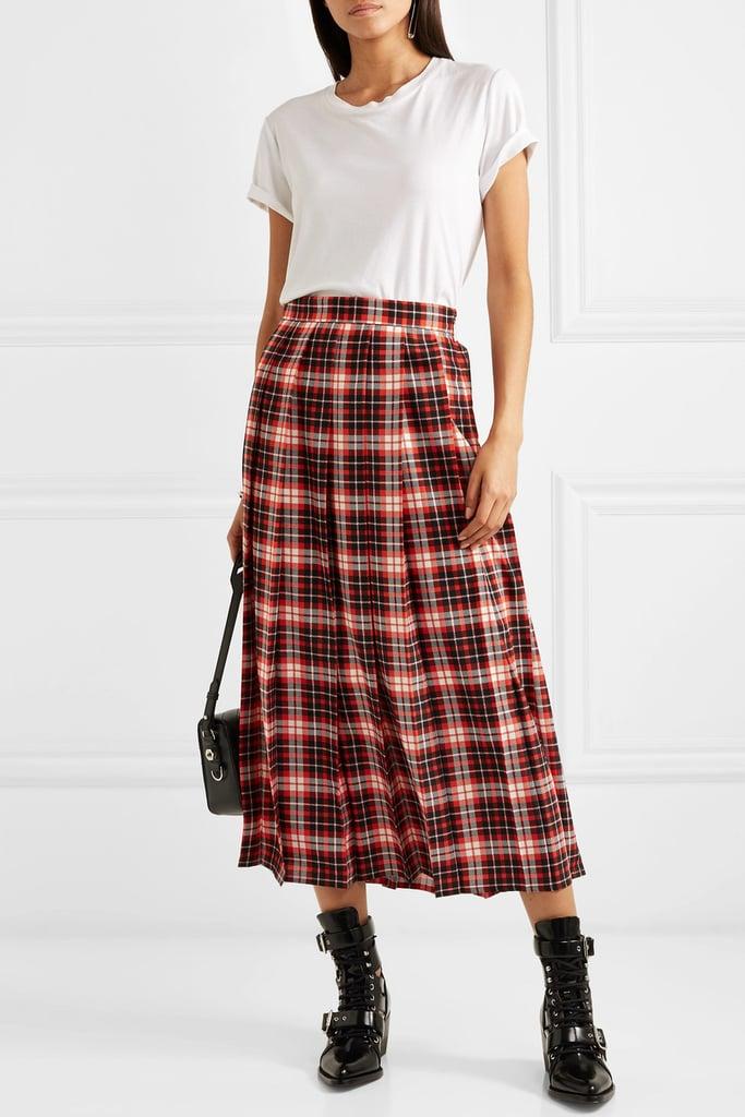 MSGM Pleated Tartan Midi Skirt